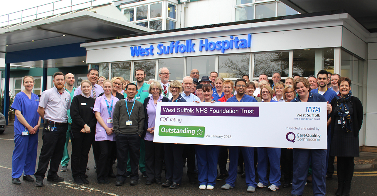 West Suffolk NHS has been ranked as outstanding by the CQC