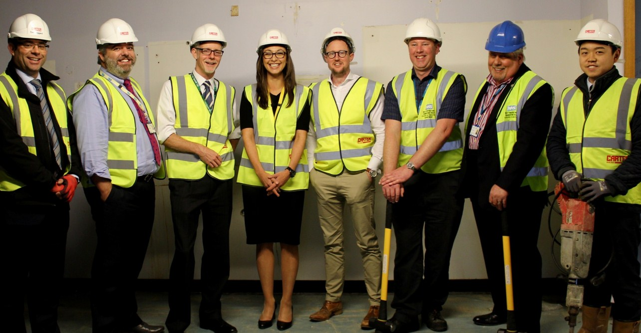 Consultant cardiologists, members of the Trust executive team and estates development team, and representatives of R G Carter Thetford who will be working on the project.
