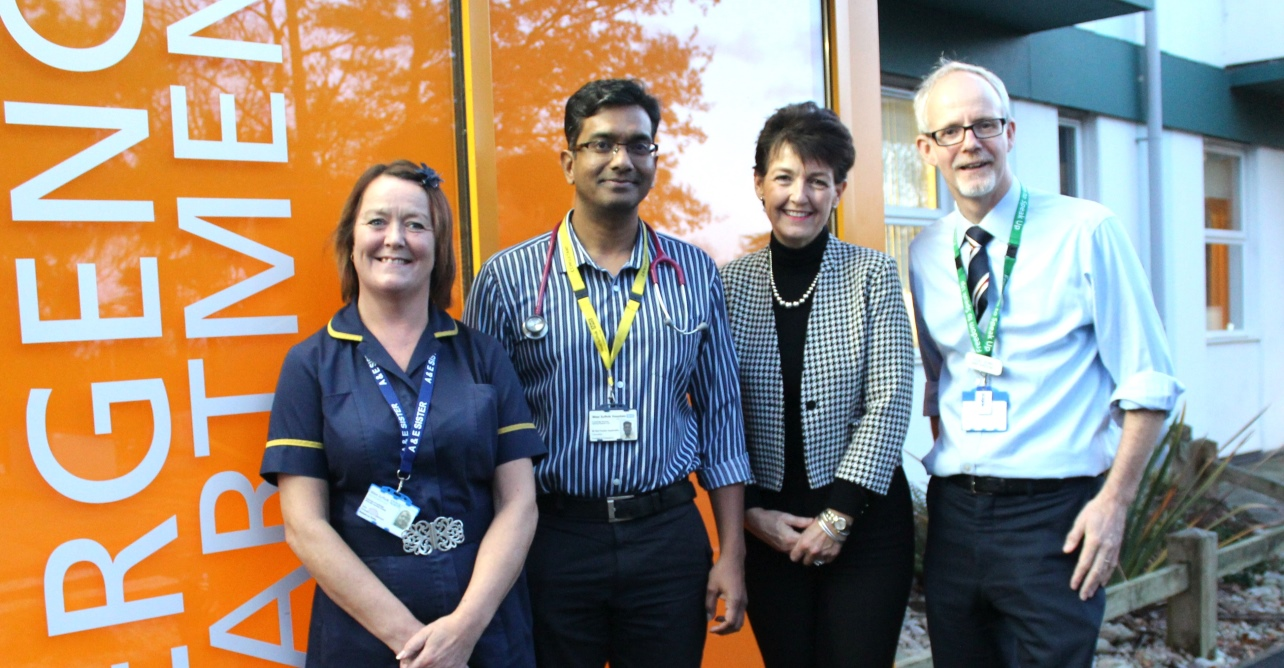 (Left to right) Becky Kelly, emergency department sister and Ravi Ayyamuthu emergency department consultant, with Jo Churchill MP and Trust chief executive Stephen Dunn