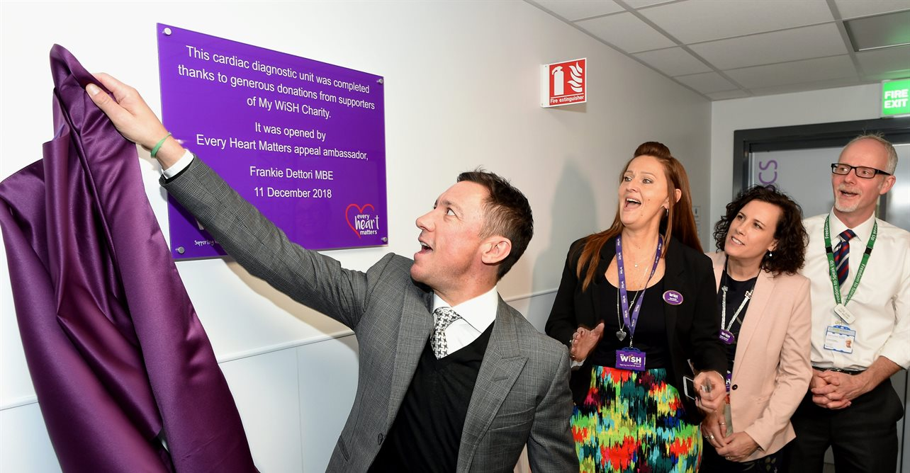 Appeal ambassador Frankie Dettori officially opens the new cardiac diagnostic unit at West Suffolk Hospital's new cardiac centre,