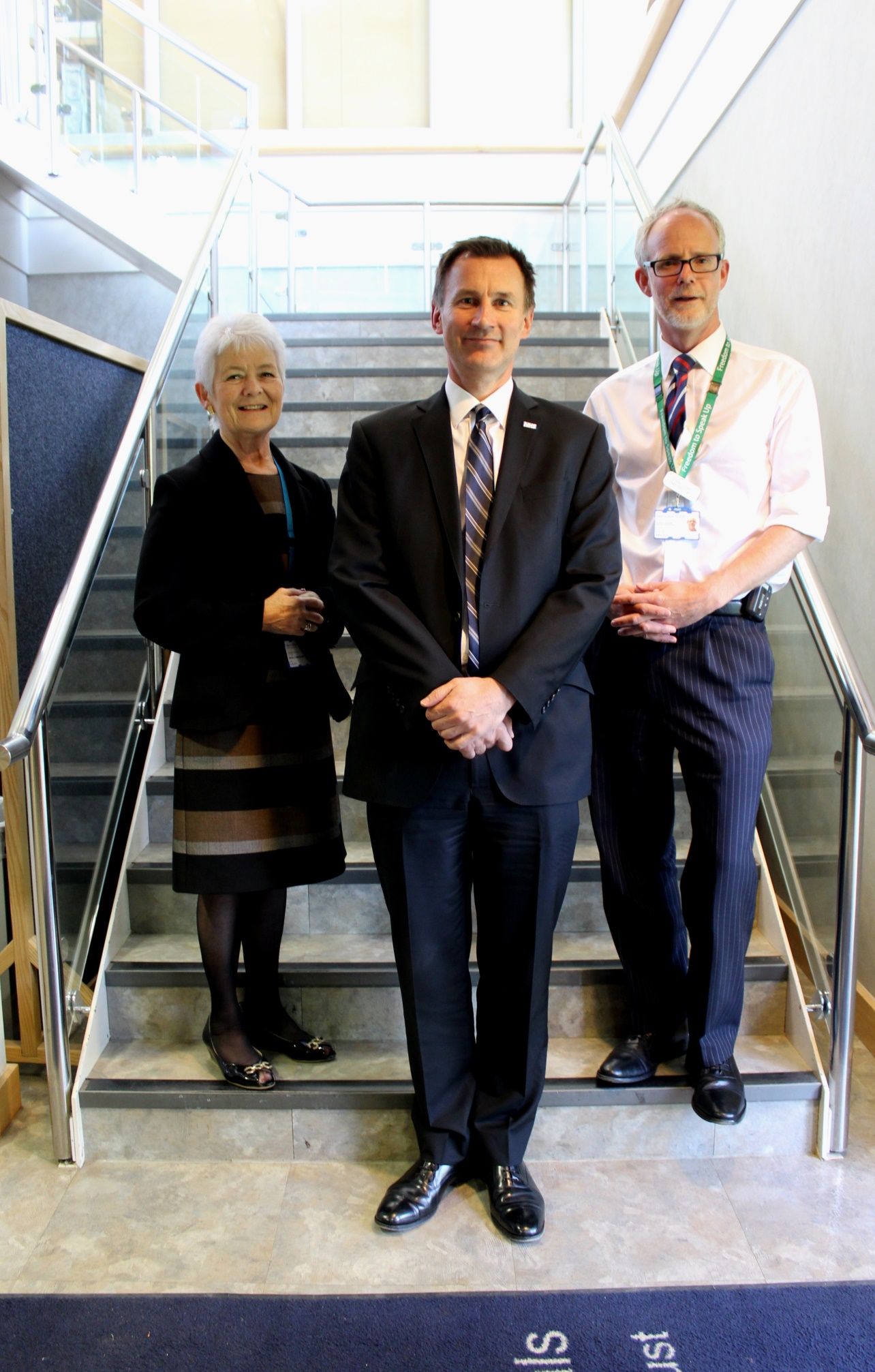 From left to right: Sheila Childerhouse, Trust chair, the Rt Hon Jeremy Hunt MP, and Trust chief executive Dr Stephen Dunn