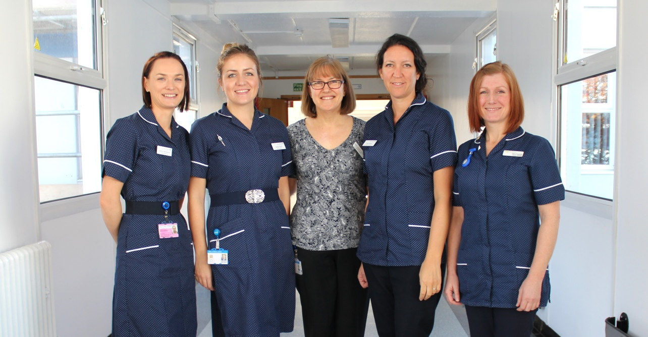 From left to right: Justyna Skonieczny, maternity ward manager, Robyn Harris, senior midwife, Karen Bassingthwaighte, acting maternity outpatient services manager, Cathy Adkins, senior midwife, and Nina Fawcett, community midwives team leader