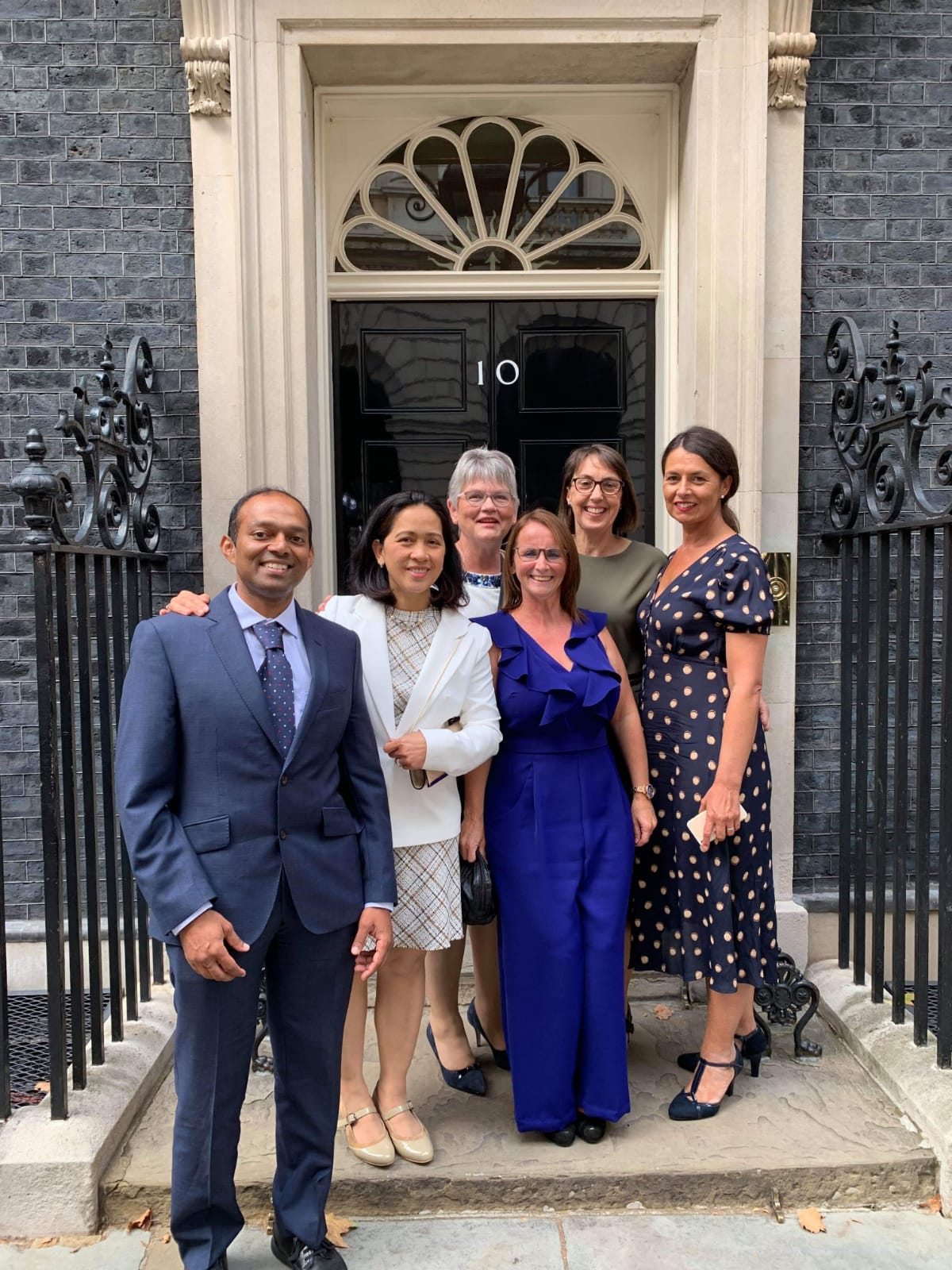 Our staff who visited 10 Downing Street.(Left to right) Vivek Rajagopal, Marilou Franco, Helen Ballam, Ali Devlin, Gylda Nunn and Sue Deakin.