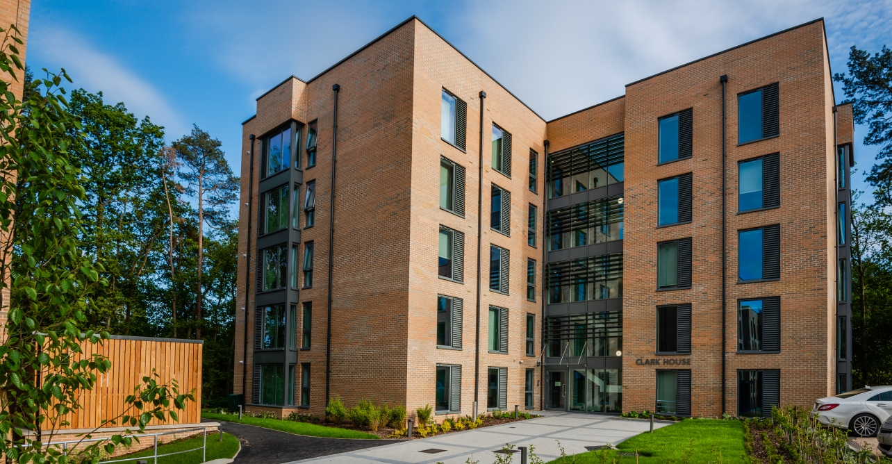 Clark House, one of three new accommodation blocks at the West Suffolk Hospital, named in honour of Dr John Clarke