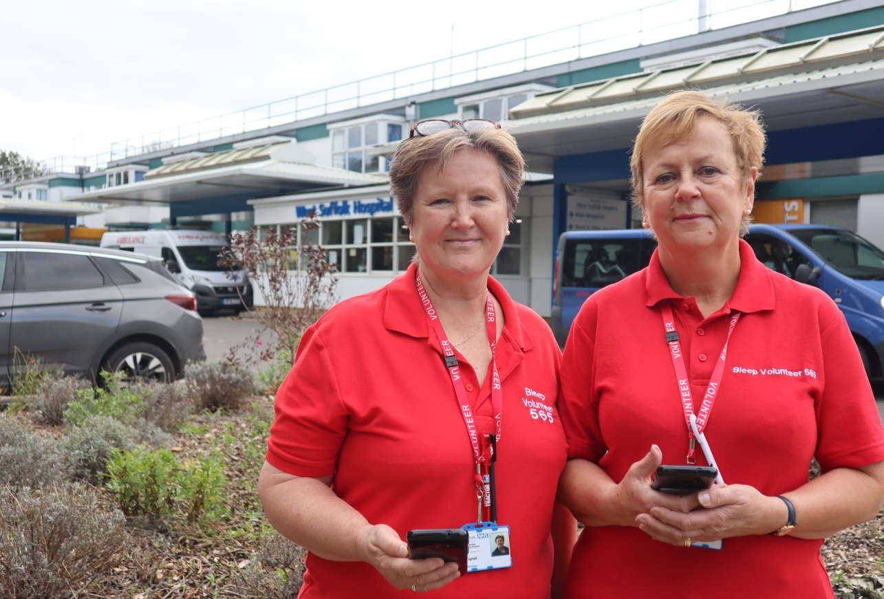 Left to right Lynda and Elizabeth are both exWSFT employees and now support the hospital as bleep volunteers