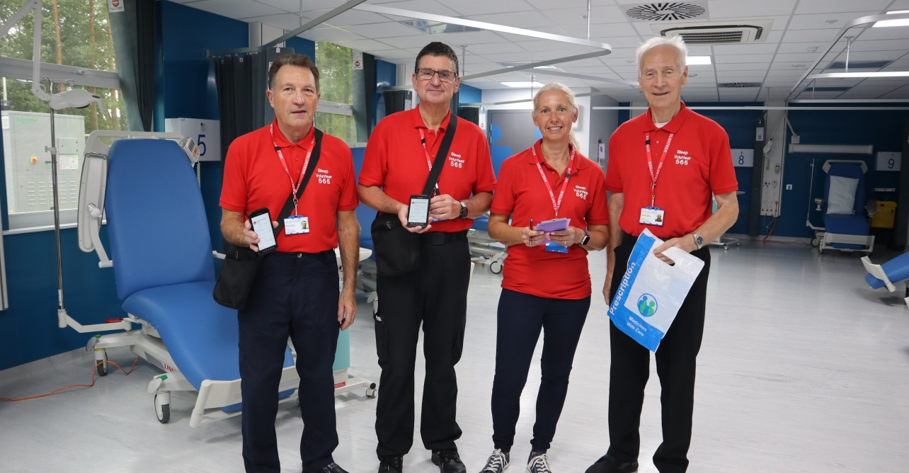 Left to right: Bleep volunteers Terry, Peter, Liz and Lawrence frequently visit the acute assessment unit