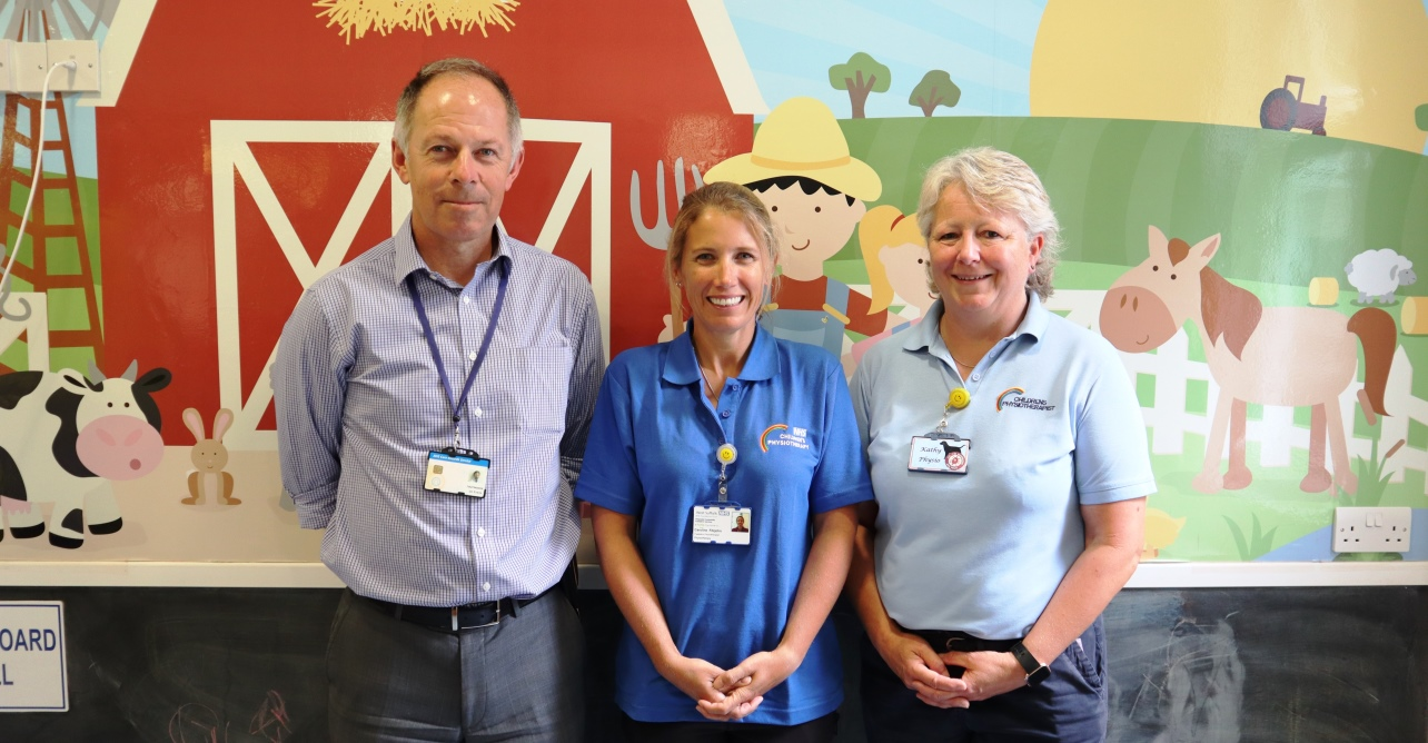 (Left to right) Consultant paediatrician Dr Ian Evans works closely with community paediatric physiotherapist Caroline Fitzjohn and hospital based paediatric physiotherapist Kathy Hammond to join up care for babies and children.