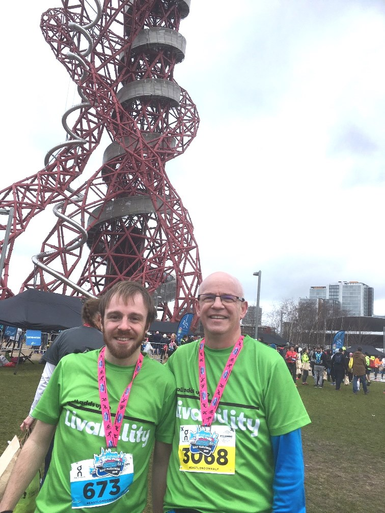 David Swales, right, with his son, Ben, at the 2019 East London half marathon.
