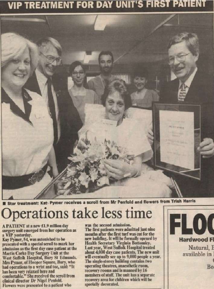 The day surgery unit official opening featured in the EADT Tuesday, 19 April 1994