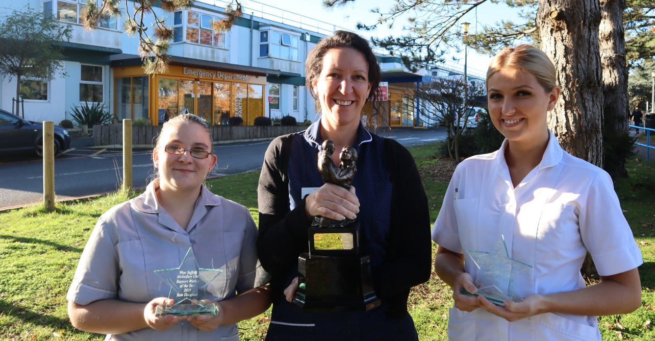 (Left to right) Sam Douglass, Cathy Adkins and Katy Edgar, winners of the annual midwifery awards at our Trust.