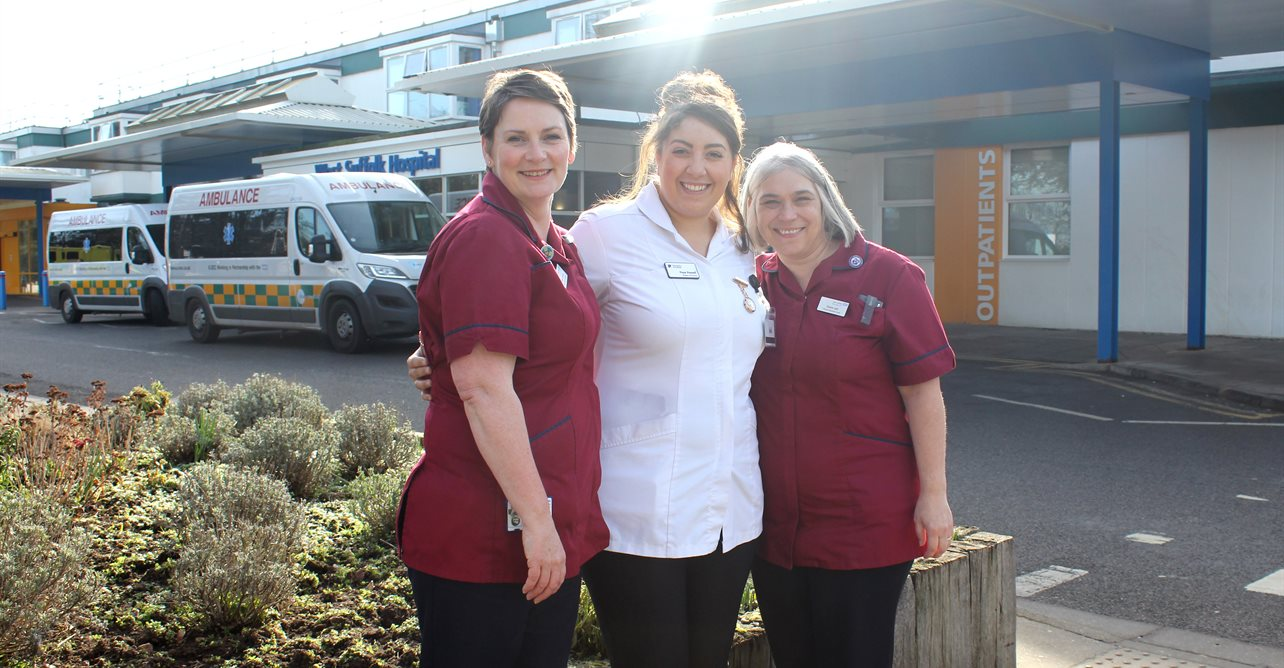 (From left to right) Helen Vickery, clinical practice facilitator, Faye Powell, University of Suffolk nursing student who is currently on her placement at West Suffolk Hospital, and Diane Last, clinical education lead.
