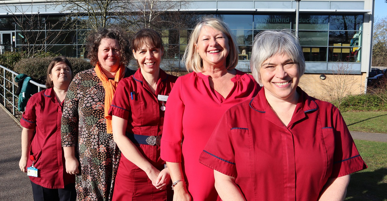 West Suffolk College staff stand side by side our education team. (L to R) Vicki Firman, Catriona Bacon, Julia Wood, Laraine Moody and Diane Last