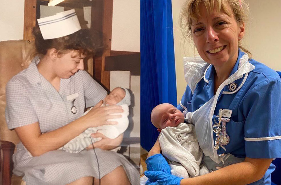 Retiring midwife Claire Ambrose with one of the first and one of the final babies she helped care for.