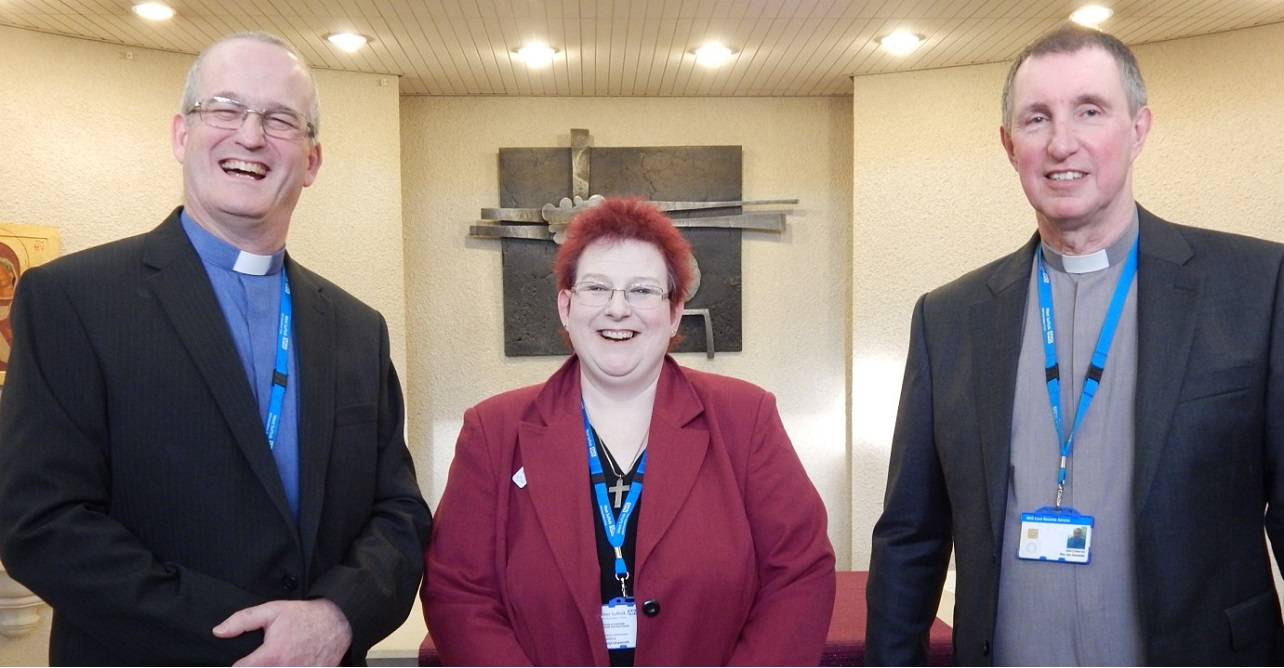 Revd Ian Howells (far right) in the West Suffolk Hospital chapel accompanied by (left to right) Revd Stephen Griffiths and Cheryl Unsworth chaplaincy administrator