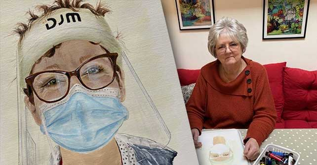 Nurse Ellie Gosbee with the portrait of her painted by grateful patient Chris Goddard