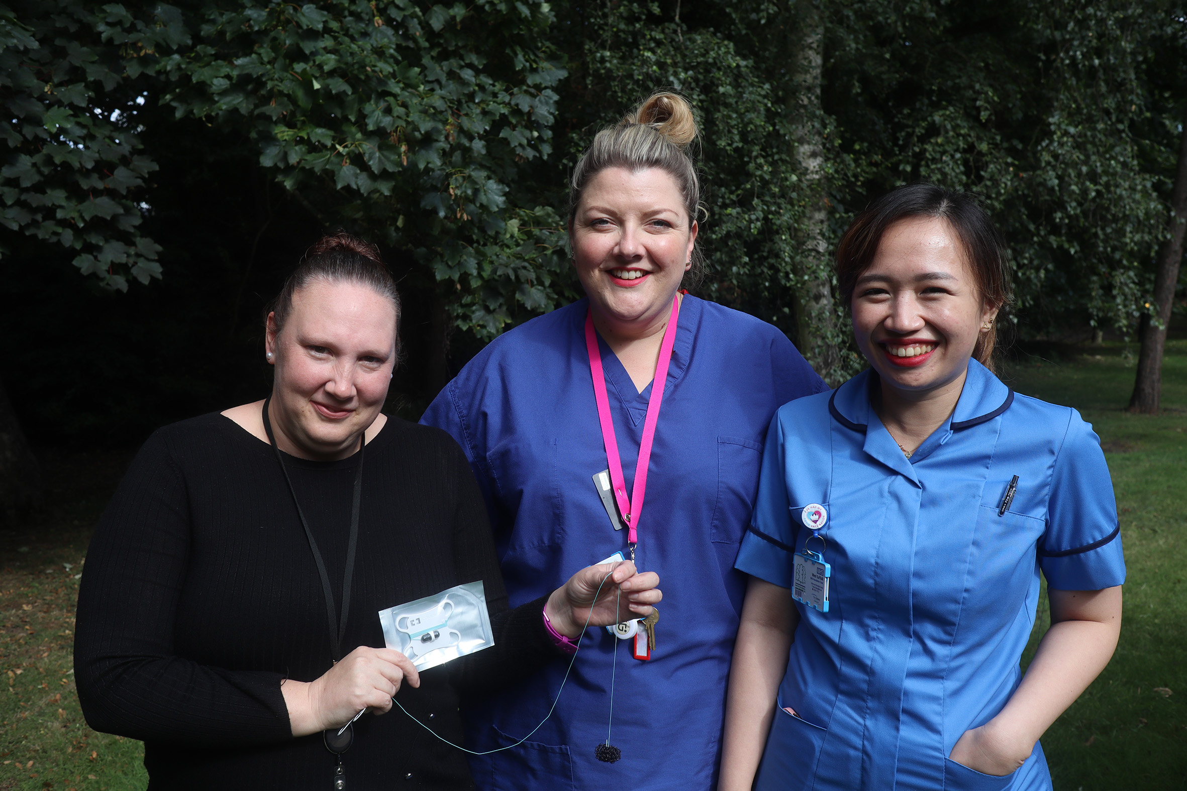 Endoscopy team members Nicola Gogin, Annie Kelling, and Winona Fajardo with the cytosponge test