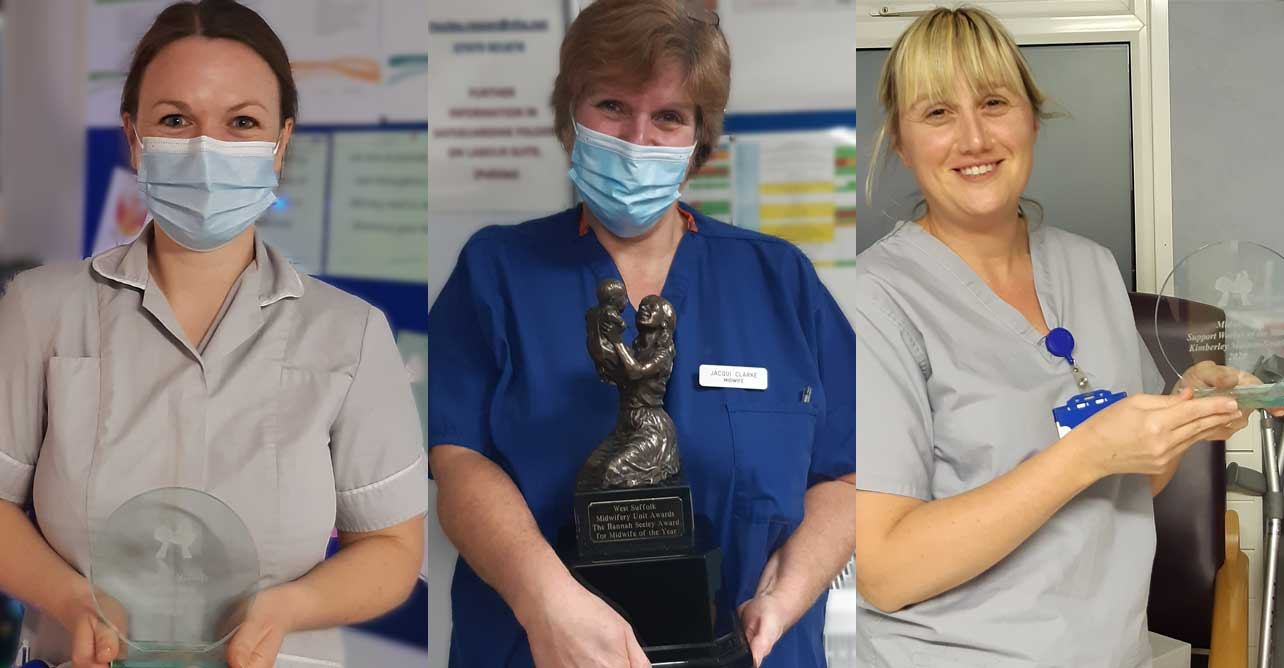 Frances Morter, Jacqui Clarke, and Kimberley Morton-Smith - winners of the 2020 Hannah Seeley awards.