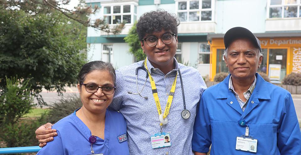 Critical care nurse Mini Ninan, junior doctor Aneesh Ninan, and catering assistant Matthew Ninan.